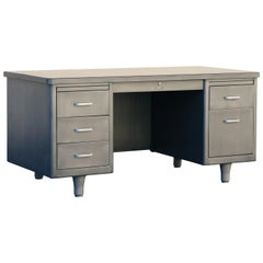 Classic McDowell Craig Tanker Desk Refinished in Natural Steel