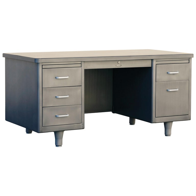 Classic McDowell Craig Tanker Desk Refinished in Natural Steel For Sale