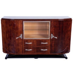 Luxe Art Deco Sideboard Credenza Showcase in Walnut