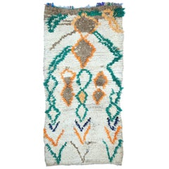 Vintage Berber Boucherouite Moroccan Azilal Rug with Expressionist Tribal Style