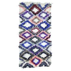 Vintage Moroccan Rug, Berber Moroccan Boucherouite Rug with Bohemian Style