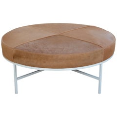 White and Beige Hide 'Tambour' Ottoman or Coffee Table by Design Frères