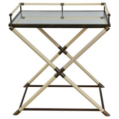 Elegant Hollywood Regency Ivory and Patinated Brass Bar Cart or Console