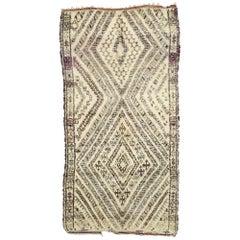 Mid-Century Modern Vintage Beni Ourain Moroccan Rug, Style, Beni Ouarain Rug