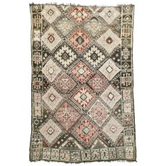 Vintage Moroccan Rug, Beni M'Guild Moroccan Rug with Mid-Century Modern Style