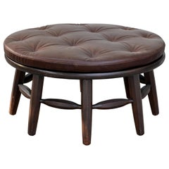 Rare Original Round Monterey Coffee Table or Ottoman, Signed