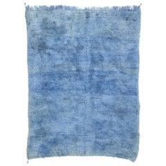 Blue Indigo Vintage Berber Moroccan Rug with Postmodern Memphis Style