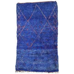 Vintage Moroccan Rug, Blue Indigo Moroccan Beni Ourain Rug