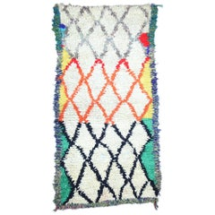 Vintage Moroccan Azilal Rug, Berber Colorful Boucherouite Rug with Tribal Style