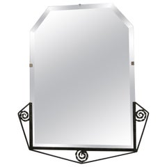 French Art Deco Hand Hammered Iron Beveled Mirror- nickel finish