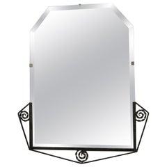 French Art Deco Hand Hammered Iron Beveled Mirror- nickel finish