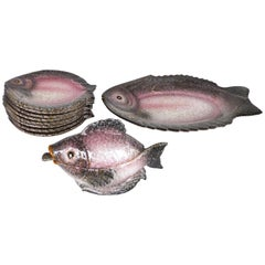 Italian Glazed Ceramic Fish Service Set with Platter, Plates and Sauce Boat