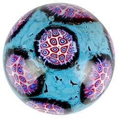 Ermanno Toso Murano Blue Pavone Murrine Mosaic Italian Art Glass Paperweight