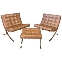 Vintage Mies van der Rohe for Knoll Barcelona Chairs and Ottoman Set
