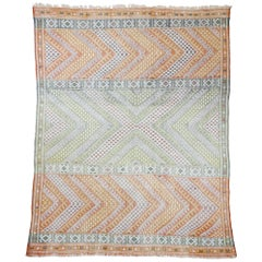 Vintage Moroccan Zemmour Berber Kilim Area Rug with Bohemian Tribal Style