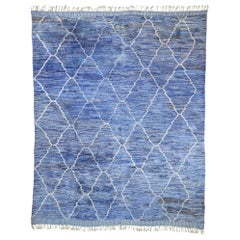 Contemporary Moroccan Rug with Postmodern Memphis Style, Blue Berber Area Rug