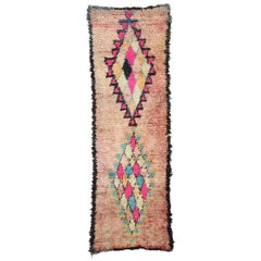 Vintage Moroccan Boucherouite Hallway Runner with Bohemian Style, Shag Rug