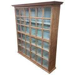 Large Late 19th Century Bleached Oak Glazed Bookcase