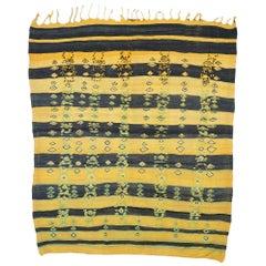 Vintage Striped Kilim Rug, Berber Kilim Rug with Tribal Folk Art Style