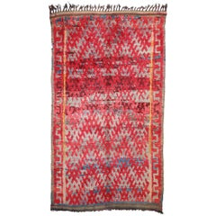 Vintage Moroccan Rug, Berber Moroccan Rug with Vibrant Mid-Century Modern Style