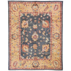 Contemporary Turkish Oushak Rug with Transitional Arts & Crafts Style