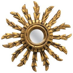 Petite French Starburst Sunburst Gilded Wood Mirror, circa 1930s