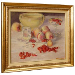 Piero Solavaggione 20th Century Oil On Cardboard Italian Still Life Painting