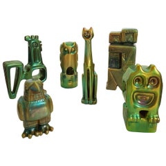 Set of Six Lid Century Ceramic Green Eosin Figures by Zsolnay, with 1960s Stamps