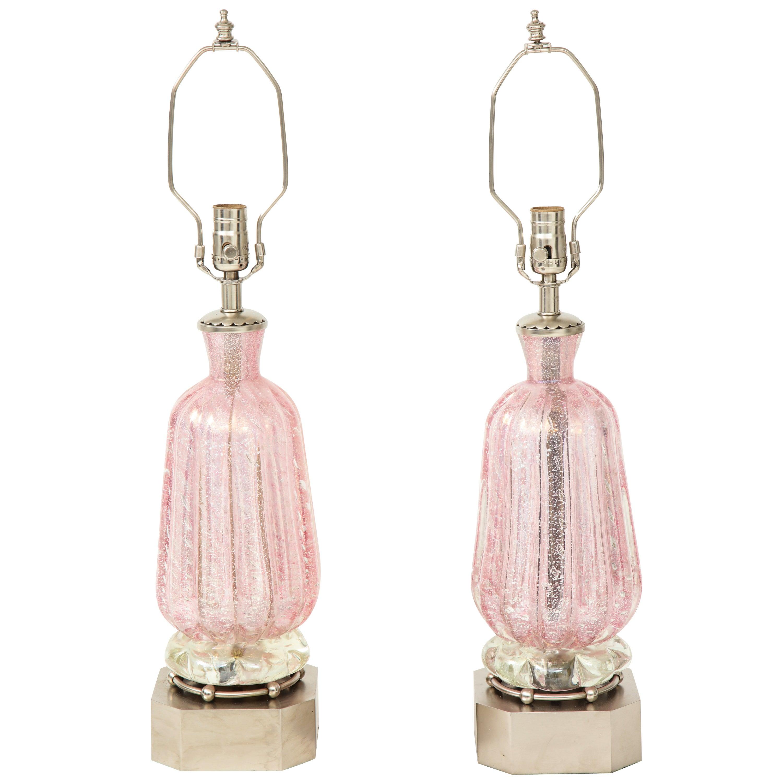 Barovier Pink Diamond Murano Glass Lamps