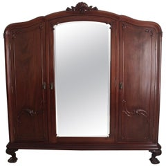 Chippendale Ball & Claw Mahogany Wood Armoire or Wardrobe with 3 Vanity Mirrors