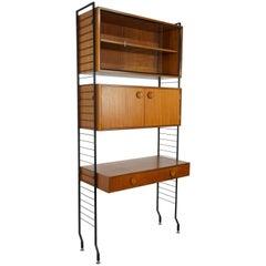 1950s Design Teak Wooden and Black Metal Wall Unit Shelves or Cabinet