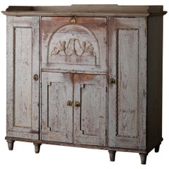 Sideboard Swedish Rustic White Painted Neoclassical, 19th Century, Sweden