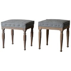 Stools Assembled Pair of Swedish Gustavian Neoclassical Wood, Sweden