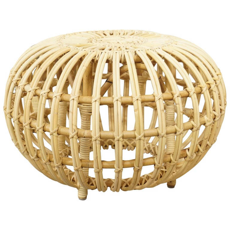 Franco Albini Design Large Rattan Ottoman For Sale