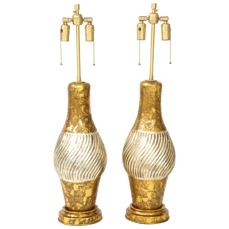 James Mont Style Gilded Porcelain Lamps