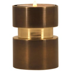 Reversible Handmade Cast Brass Candle Tea-Light Holder with Bronze Patina