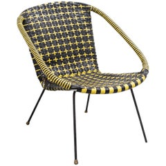 1950s Scandinavian Retro Black and Yellow Satellite Chair with Original Seating