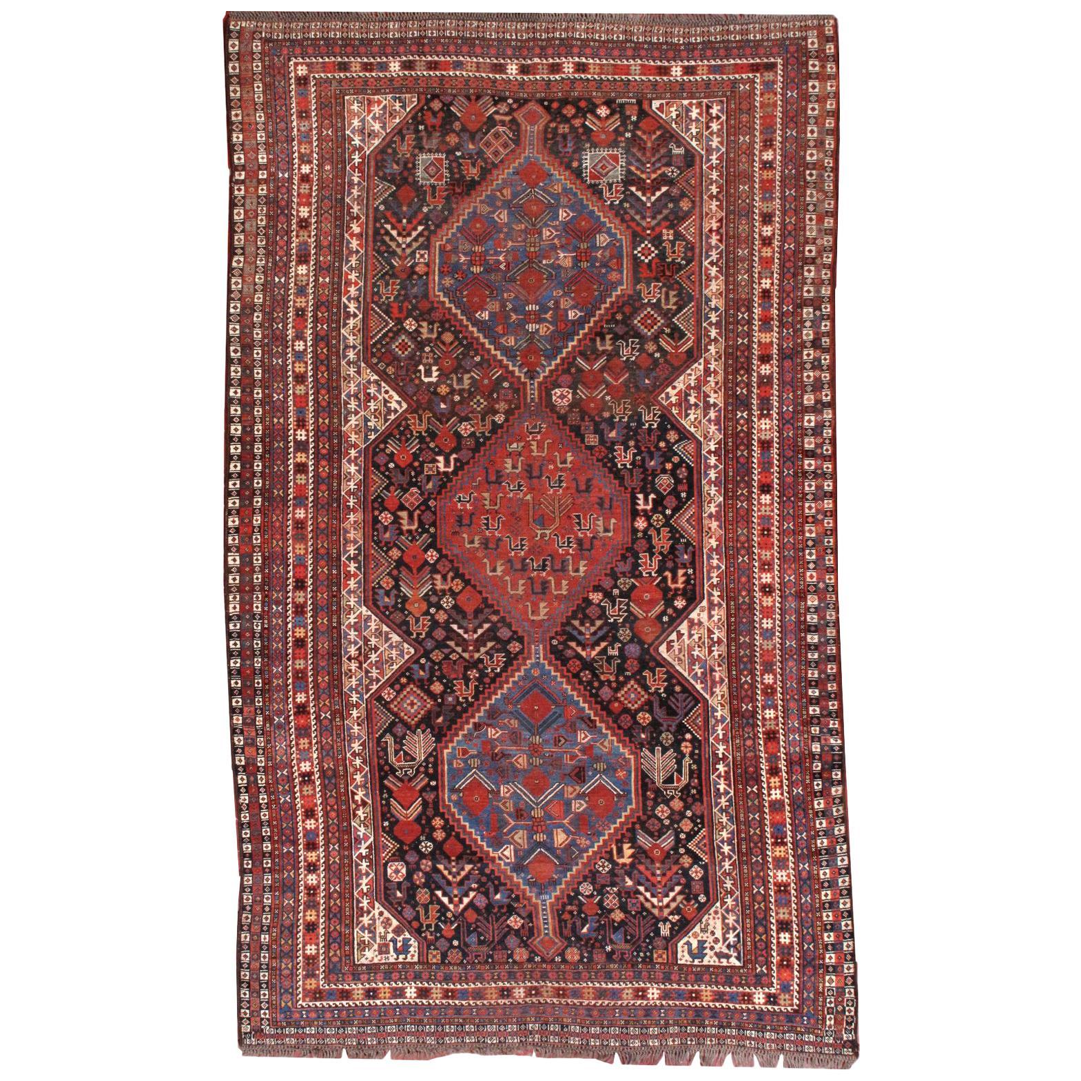 Handmade Antique Khamseh Style Rug, 1880s, 1B193