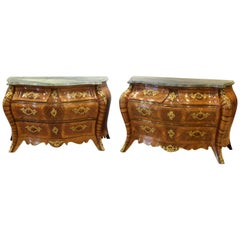 Pair of Bombe Commodes, Wood, Marble, Bronze, Sweden, 18th Century