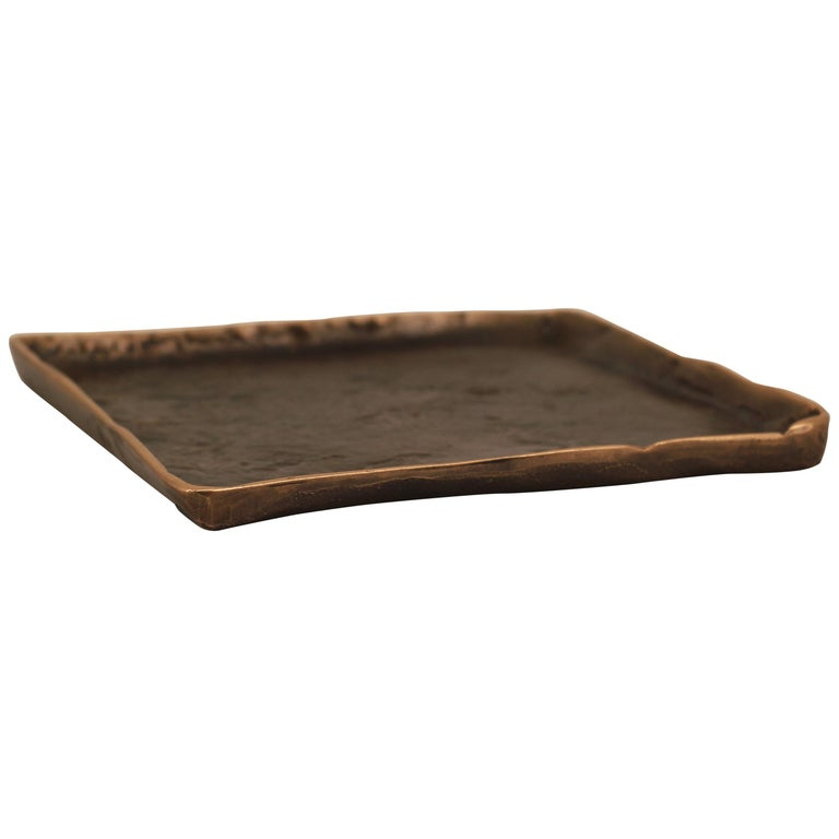 Handmade Cast Bronze Tray Inspired by Wabi-Sabi For Sale