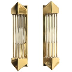 Pair of Brass and Glass Rod Wall Sconces Art Deco Style, Honsel Germany