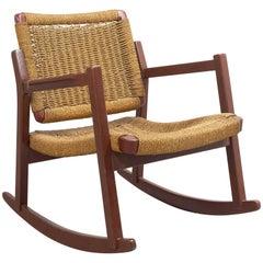 Midcentury Rare Hemp Woven Rocking Chair by Alf Sture