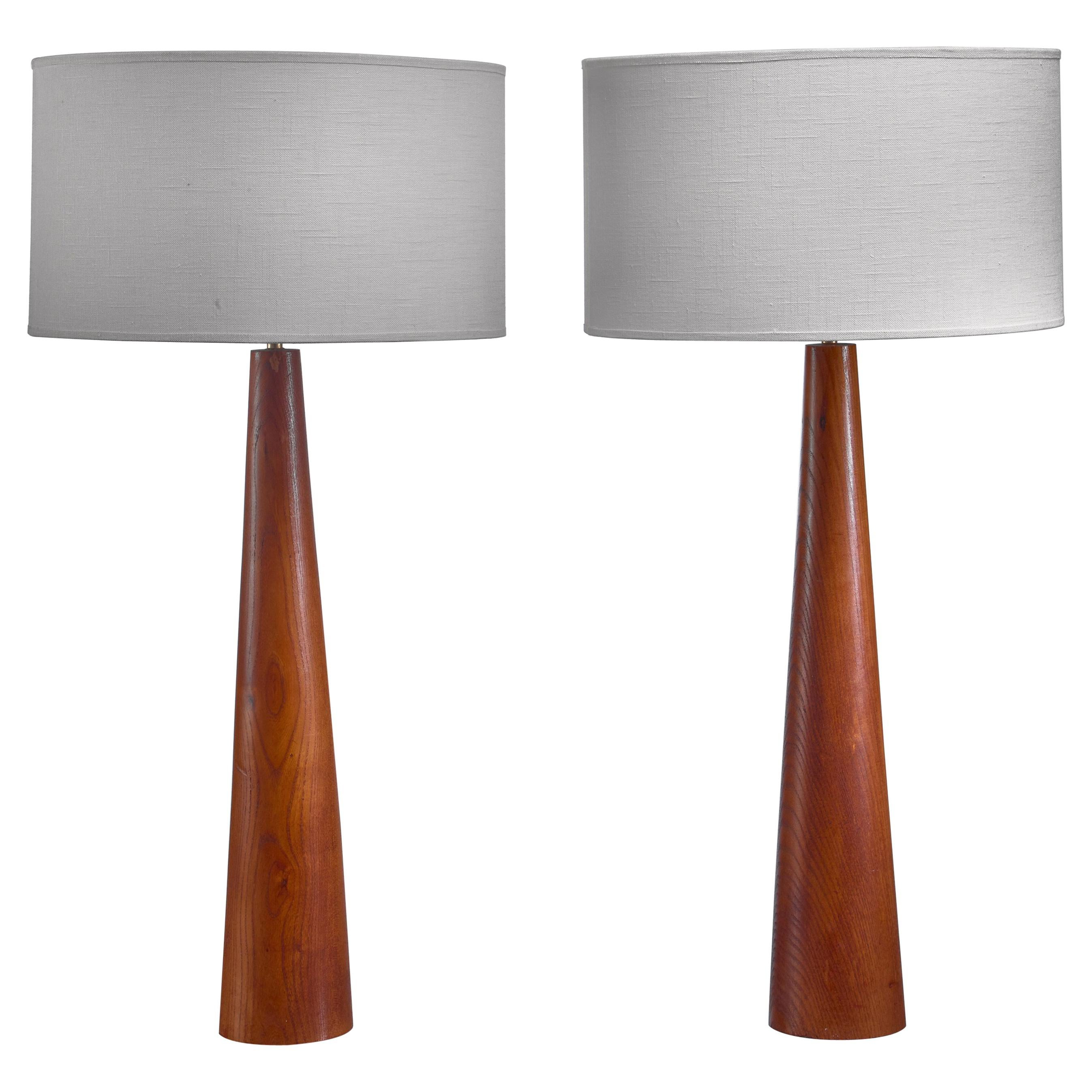 Beau Pair Of Conical Wooden Table Lamps, Sweden, 1960s