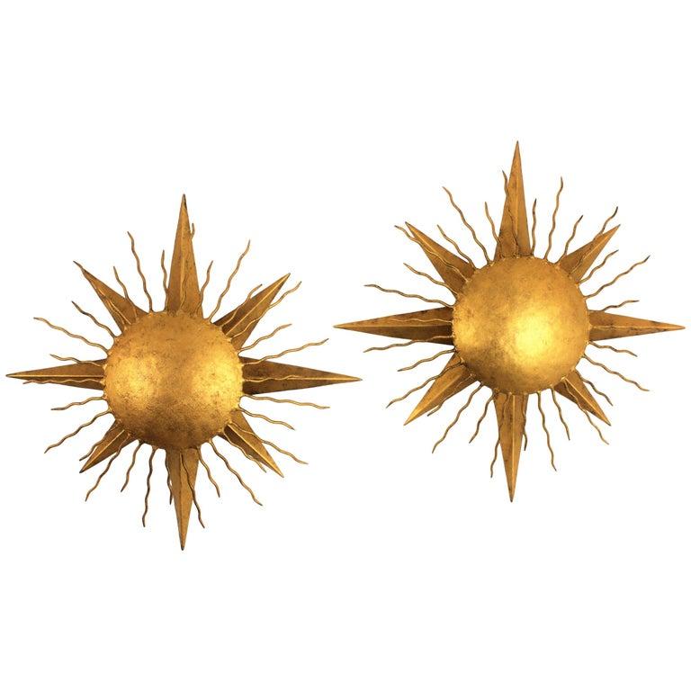Pair of Wrought Gilt Iron Starburst Sunburst Wall Light Fixtures, Spain 1950s For Sale
