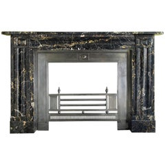 Large English William IV Portoro Marble Fireplace