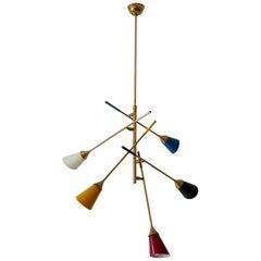 Midcentury 5-Arm Sputnik Chandelier or Pendant Lamp by Arredoluce, 1950s, Italy