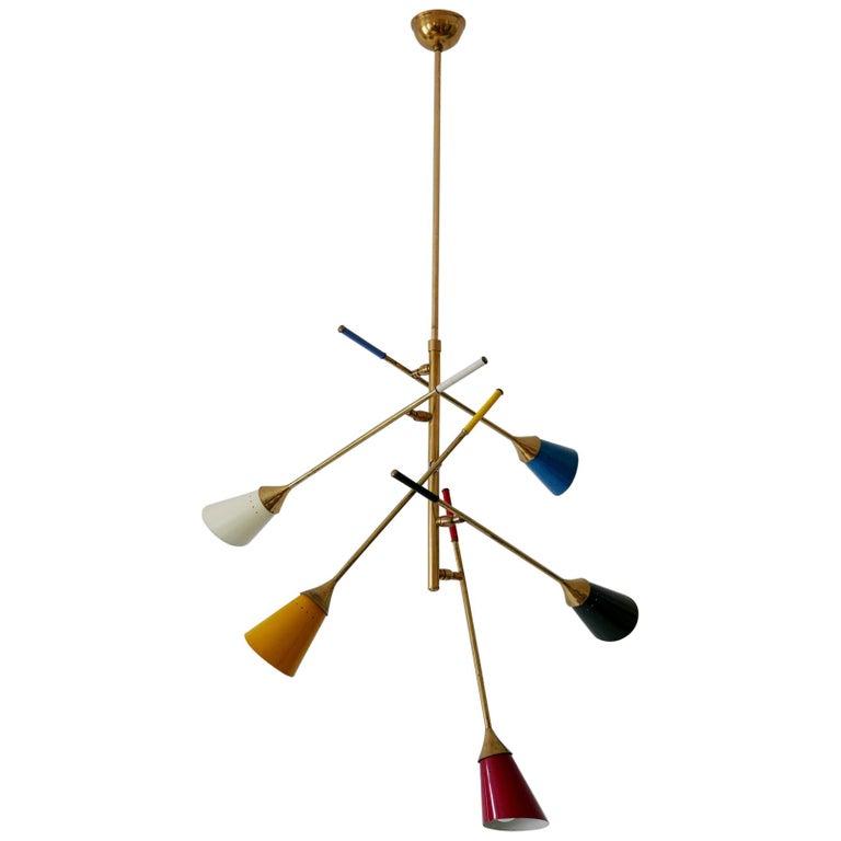 Midcentury 5-Arm Sputnik Chandelier or Pendant Lamp by Arredoluce, 1950s, Italy For Sale