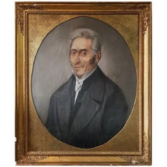 Late 19th Century French Crayon Portrait Drawing of a Man, Signed and Dated
