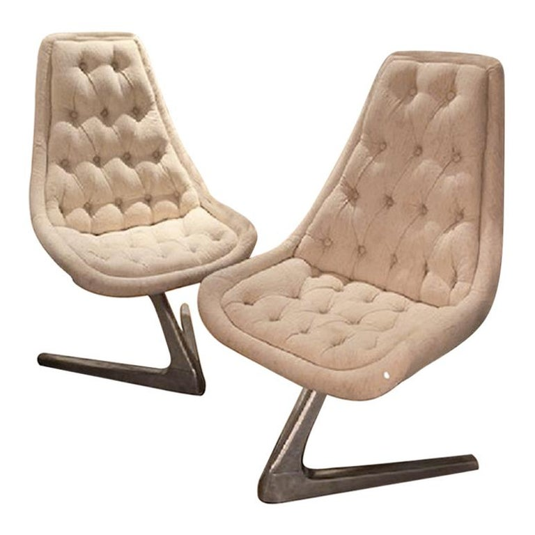 Vintage 1960s Mid-century Swivel Chairs New Upholstery and Aluminium Base For Sale