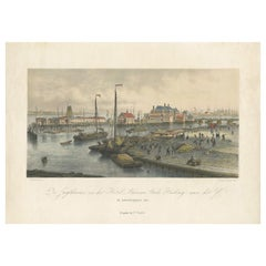Antique Print of the Harbour of the IJ 'Amsterdam' by Stemler '1871'